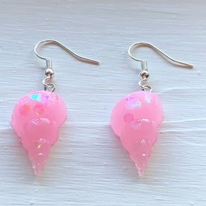 Seashell Earrings Pink Quartz Tulip Shells